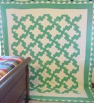 Green & White Drunkards Path Quilt- Border-large. SOLD