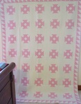 Mint Churn Dash Quilt- Pink and White