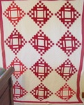 Red and White Dominos and Squares Quilt