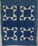 Blue And White X Pattern Doll Quilt- Original  -Sold