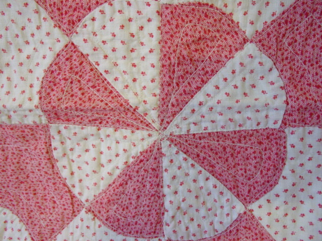 close up of fabrics and quilting pattern