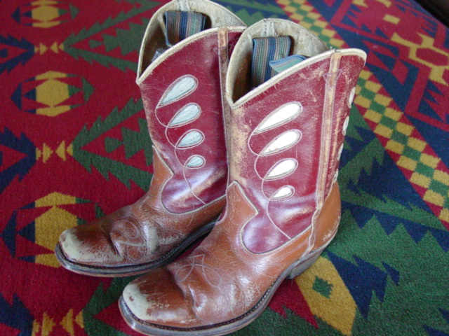 view of leather 1950's kids cowboy/cowgirl boots