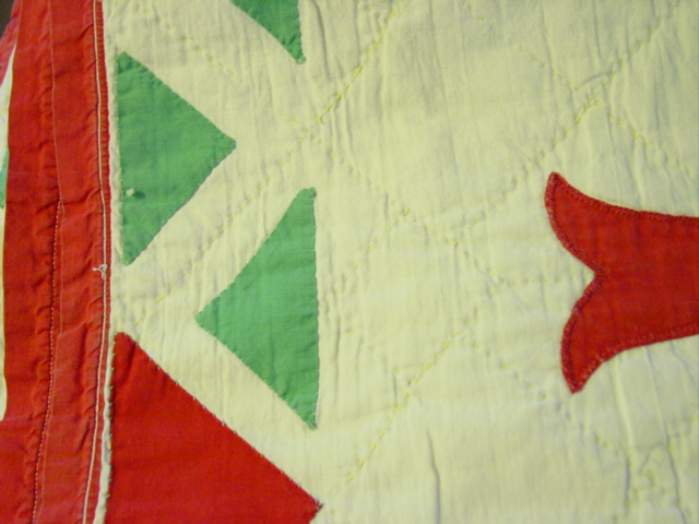 view of the applique triangles and quilting