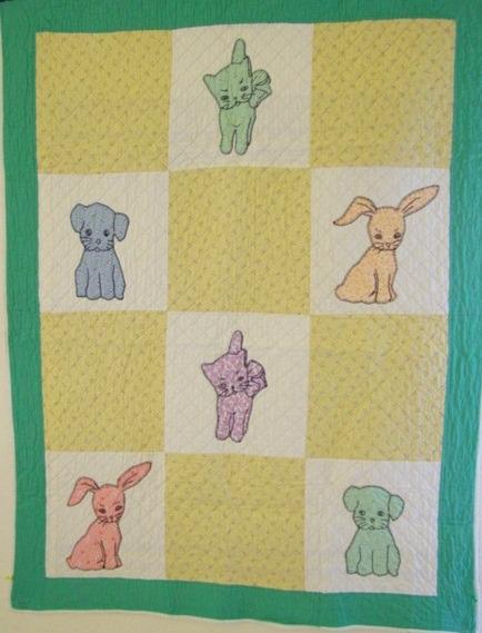 Puppies and Kittens crib quilt