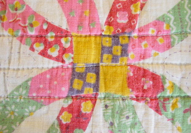 Cheater Printed Patchwork Double Wedding Ring Quilt