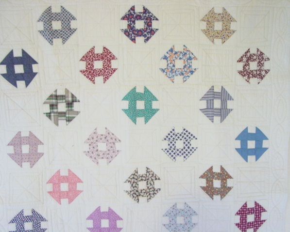 partial view of the quilt- what a nice collection of colors