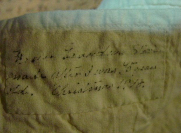 history note on the Grandma Stark quilt made around Christmas 1918
