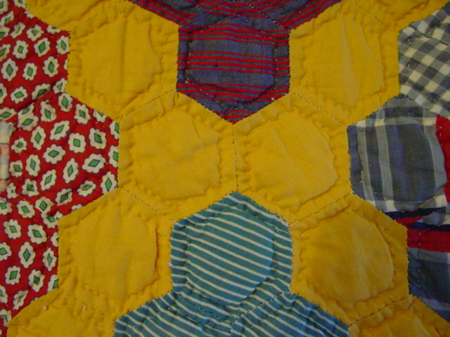 closeup of the quilting and hand work