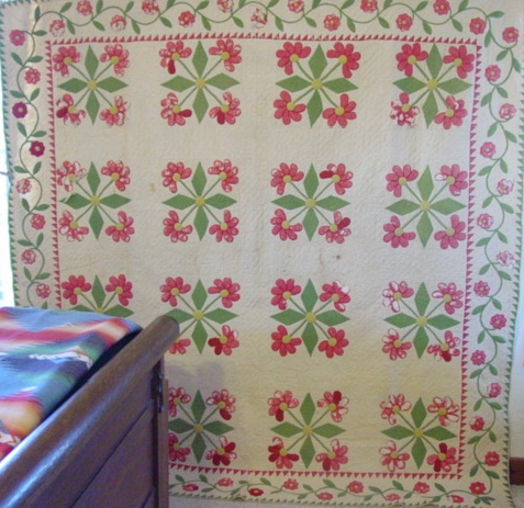 full view of Mexican Rose Variation Applique quilt with sawtooth border