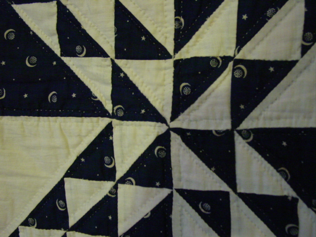 close up of the fabric and quilting