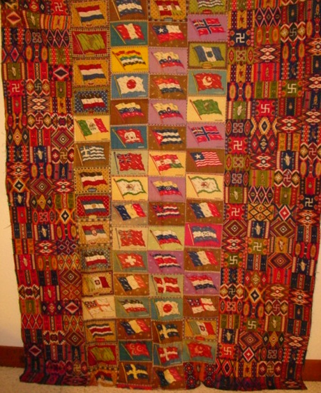 full view of the tobacco flannel quilt top