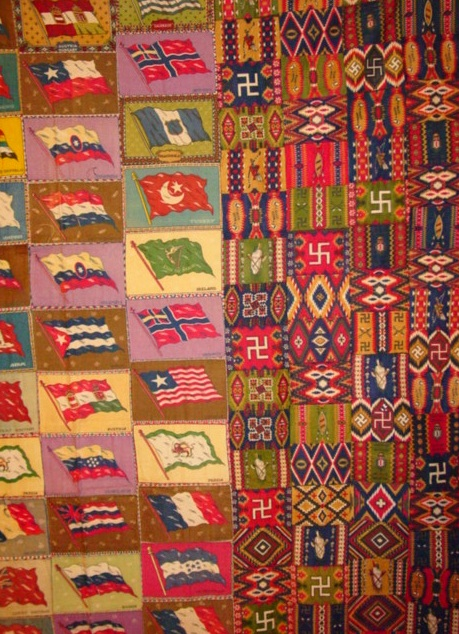 Another view shows many of the varied patterns used for the premiums- what inticement to get women to buy the tobacco and use the fabric flannels for quilts, pillows, used in crazy quilts, etc