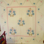 Unusual Applique Basket Quilt with Border Vine Applique