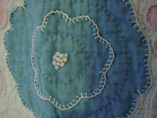 hand quilting and applique- French knots