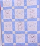 Embroidered  Kittens and Puppies Crib Quilt