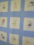 Childs Crib/Youth Embroidered Sampler Block Quilt