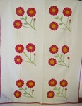 Signed /Dated Sunflower (Peony) Applique Quilt