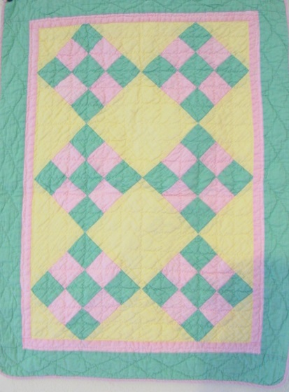 full view of doll quilt, 9 Patch on Point