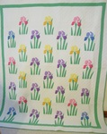 Iris Applique Quilt- Mint- Mountain Mist -   SOLD