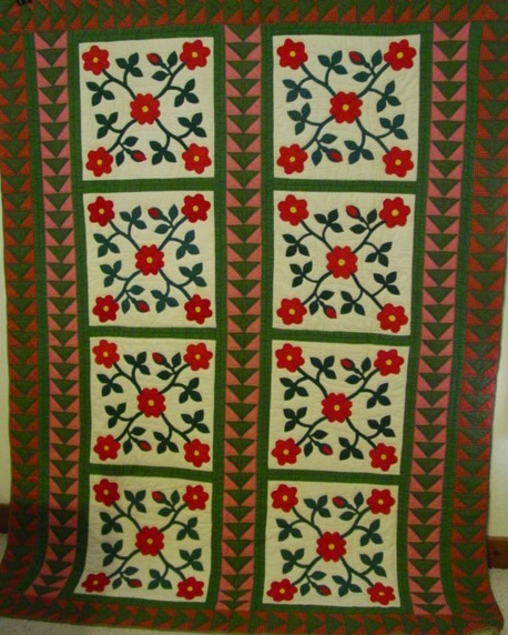 full view of 8 block Ohio Rose applique quilt