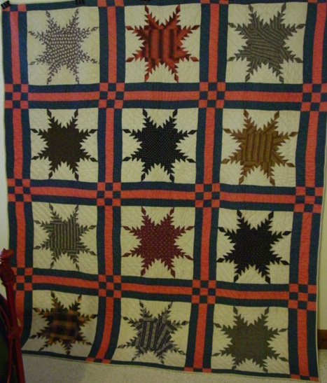 full view of Star of Chamblie or Feathered Stars quilt