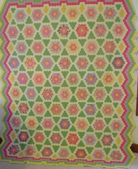 full view of Flower Garden Hexagons- Star antique quilt