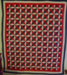 Red, White, Blue Four Point Connecting Stars Quilt SOLD