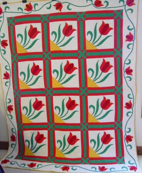 full view of framed Tulips vintage quilt