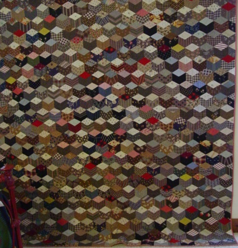 full view of Tumbling Blocks antique quilt