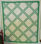 Green and White Double Irish Chain Quilt
