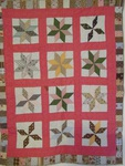 Eight Point Stars Crib Quilt With Blocks Border- Sold