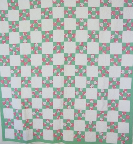 view of Nine Patch vintage quilt