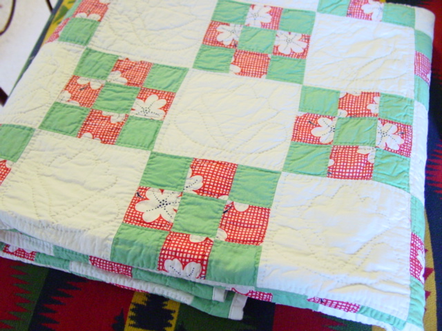 another way to enjoy this quilt-- I can even see it on a kitchen table  though not during a meal unless glass covered