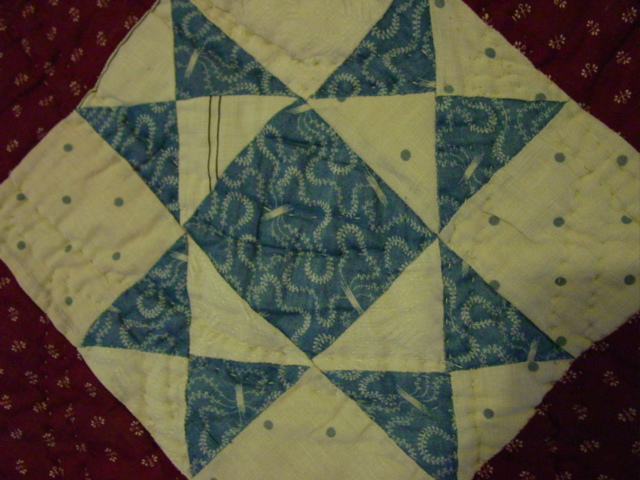 closeup of the quilting and a block