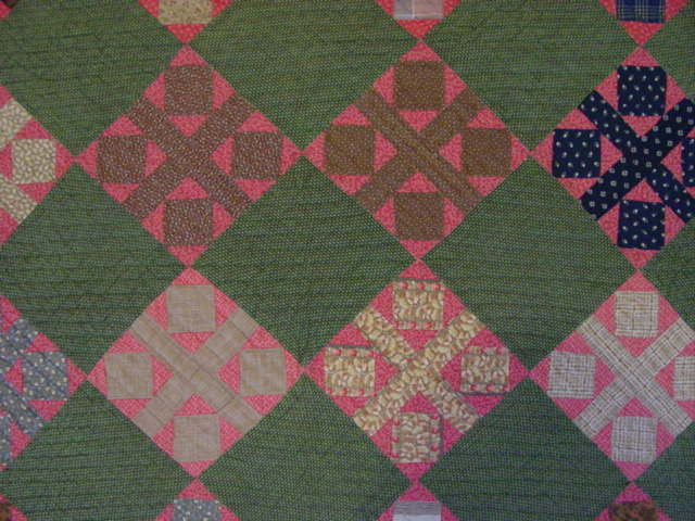 closer view of the pattern and fabrics