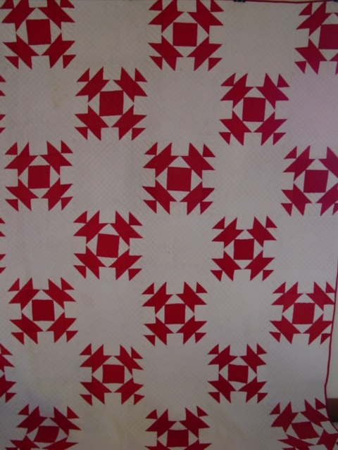 a super red and white quilt