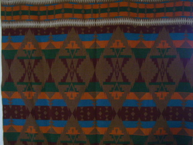 closer view  of the blanket and pattern- some darker light