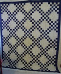 Blue and White Double Irish Chain Quilt Top