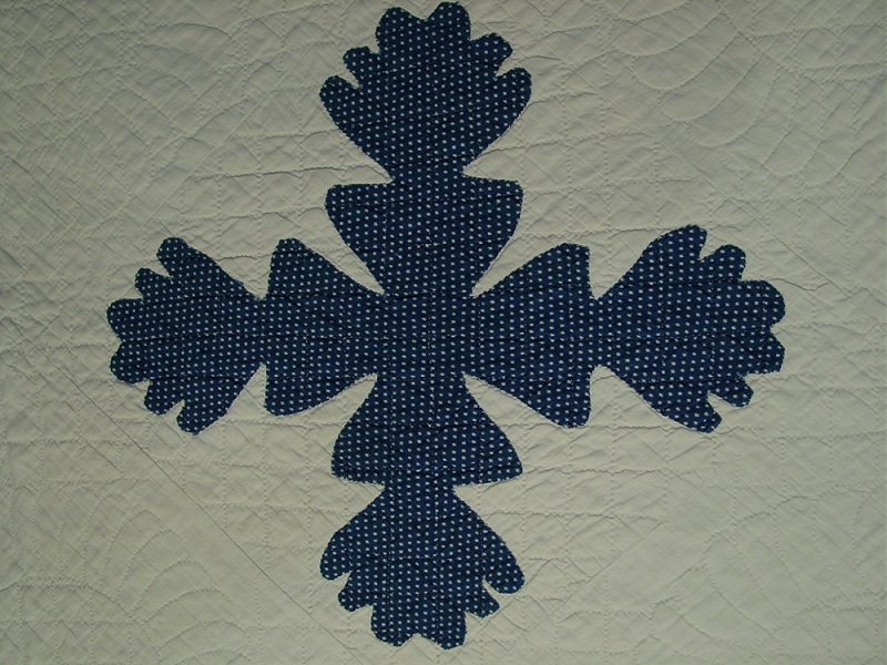 one of the applique blocks and quilting